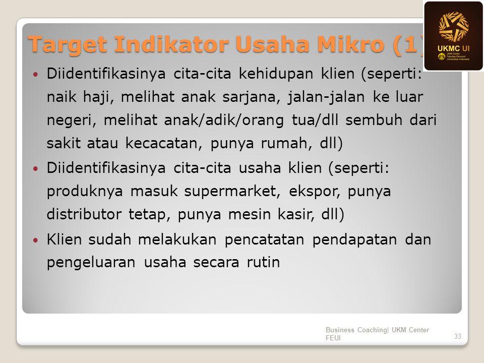 Target Indikator Usaha Mikro (1) Diidentifikasinya cita-cita kehidupan klien (seperti: naik haji, melihat anak sarjana, jalan-jalan ke luar negeri, me