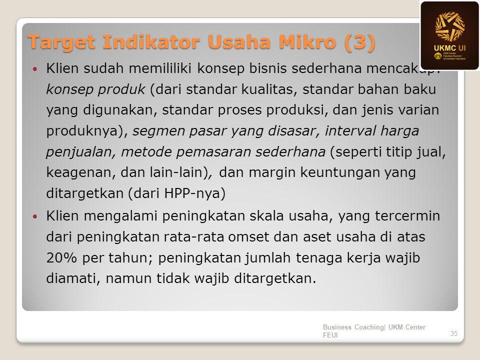 Target Indikator Usaha Mikro (3) Klien sudah memililiki konsep bisnis sederhana mencakup: konsep produk (dari standar kualitas, standar bahan baku yan