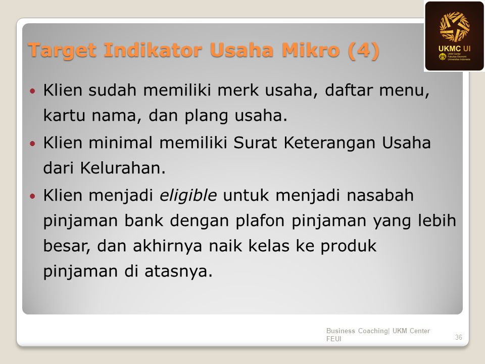 Target Indikator Usaha Mikro (4) Klien sudah memiliki merk usaha, daftar menu, kartu nama, dan plang usaha.