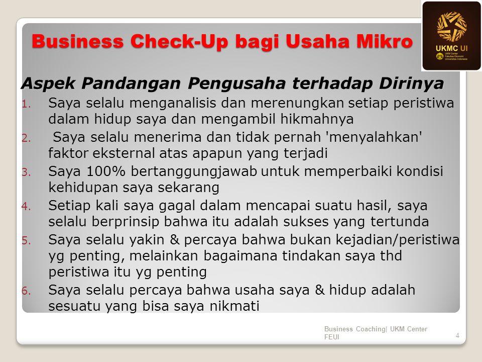 Business Check-Up bagi Usaha Mikro Aspek Pandangan Pengusaha terhadap Dirinya 1. Saya selalu menganalisis dan merenungkan setiap peristiwa dalam hidup