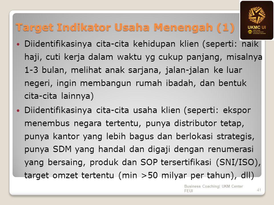Target Indikator Usaha Menengah (1) Diidentifikasinya cita-cita kehidupan klien (seperti: naik haji, cuti kerja dalam waktu yg cukup panjang, misalnya