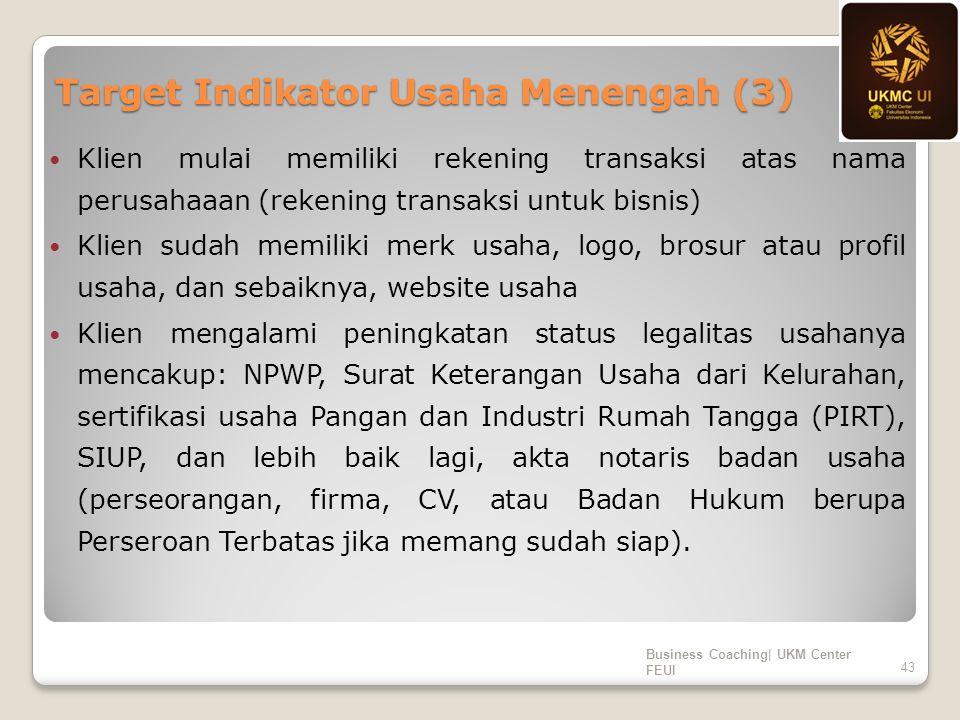 Target Indikator Usaha Menengah (3) Klien mulai memiliki rekening transaksi atas nama perusahaaan (rekening transaksi untuk bisnis) Klien sudah memili