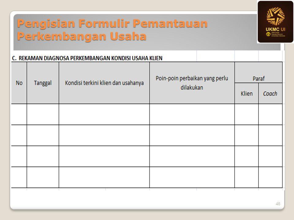 Pengisian Formulir Pemantauan Perkembangan Usaha 48