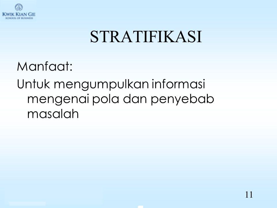 STRATIFIKASI Manfaat: Untuk mengumpulkan informasi mengenai pola dan penyebab masalah 11