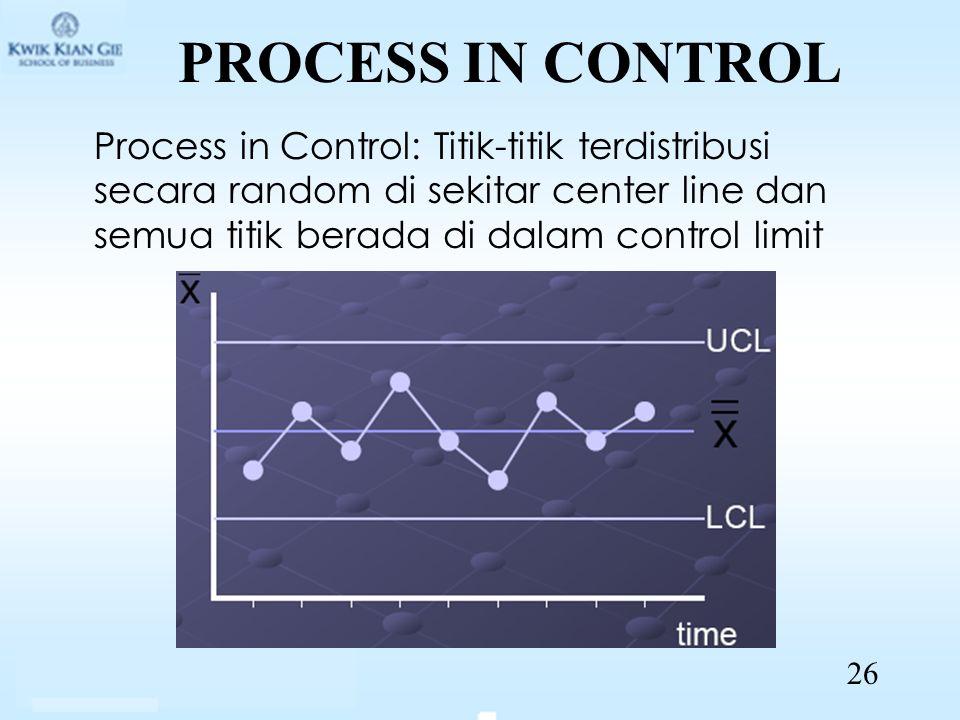 PROCESS IN CONTROL Process in Control: Titik-titik terdistribusi secara random di sekitar center line dan semua titik berada di dalam control limit 26