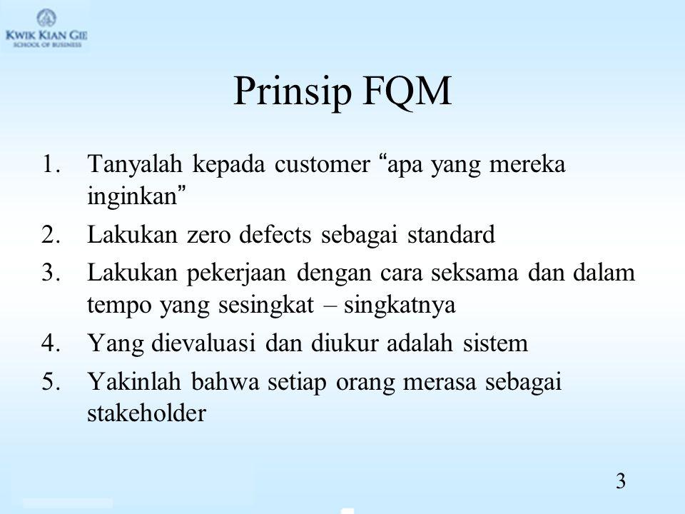 Prinsip FQM 1.Tanyalah kepada customer apa yang mereka inginkan 2.Lakukan zero defects sebagai standard 3.Lakukan pekerjaan dengan cara seksama dan dalam tempo yang sesingkat – singkatnya 4.Yang dievaluasi dan diukur adalah sistem 5.Yakinlah bahwa setiap orang merasa sebagai stakeholder 3