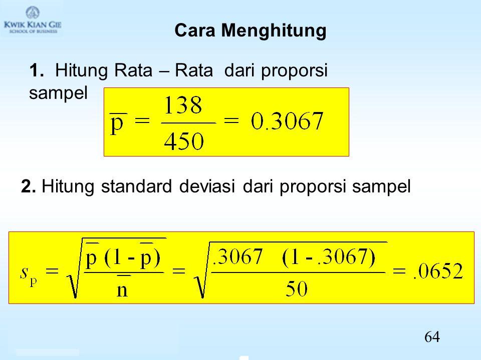 1. Hitung Rata – Rata dari proporsi sampel 2. Hitung standard deviasi dari proporsi sampel Cara Menghitung 64