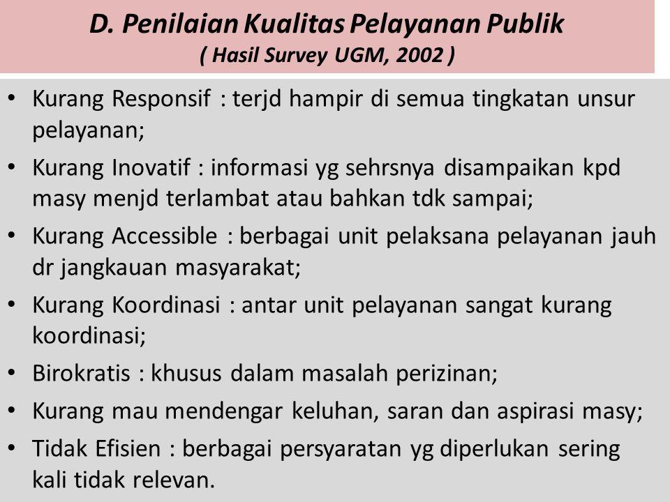 D. Penilaian Kualitas Pelayanan Publik ( Hasil Survey UGM, 2002 ) Kurang Responsif : terjd hampir di semua tingkatan unsur pelayanan; Kurang Inovatif
