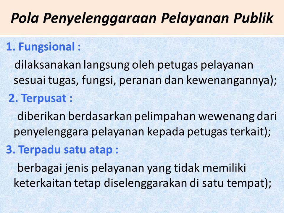 Pola Penyelenggaraan Pelayanan Publik 1.
