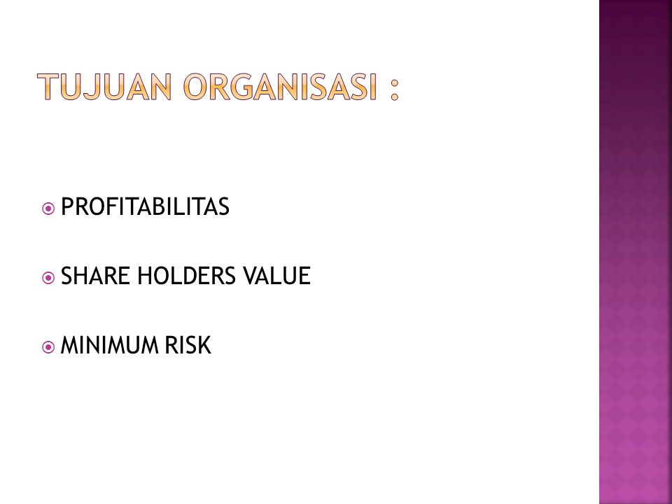  PROFITABILITAS  SHARE HOLDERS VALUE  MINIMUM RISK