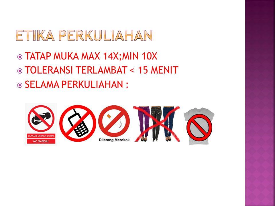  TATAP MUKA MAX 14X;MIN 10X  TOLERANSI TERLAMBAT < 15 MENIT  SELAMA PERKULIAHAN :