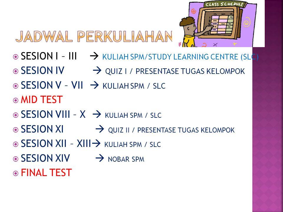  SESION I – III  KULIAH SPM/STUDY LEARNING CENTRE (SLC)  SESION IV  QUIZ I / PRESENTASE TUGAS KELOMPOK  SESION V – VII  KULIAH SPM / SLC  MID TEST  SESION VIII – X  KULIAH SPM / SLC  SESION XI  QUIZ II / PRESENTASE TUGAS KELOMPOK  SESION XII – XIII  KULIAH SPM / SLC  SESION XIV  NOBAR SPM  FINAL TEST