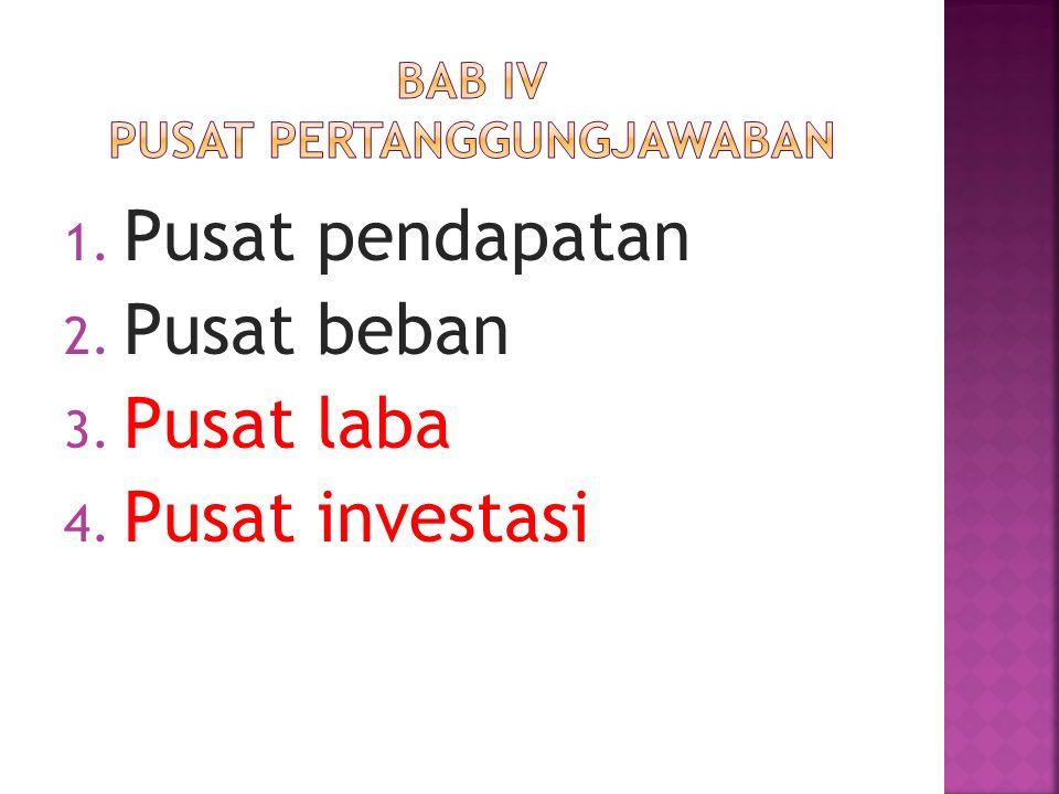 1. Pusat pendapatan 2. Pusat beban 3. Pusat laba 4. Pusat investasi