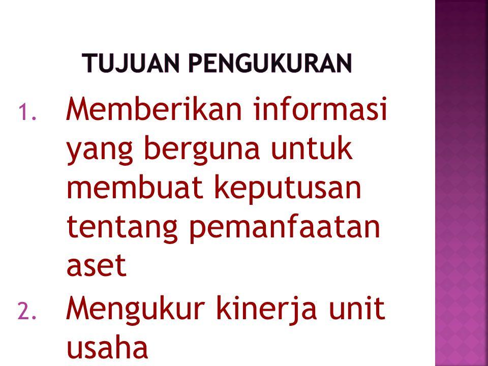 1. Memberikan informasi yang berguna untuk membuat keputusan tentang pemanfaatan aset 2.