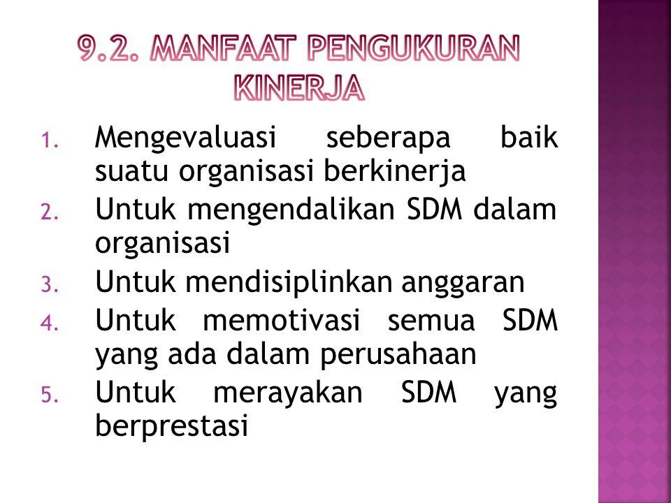 1. Mengevaluasi seberapa baik suatu organisasi berkinerja 2.