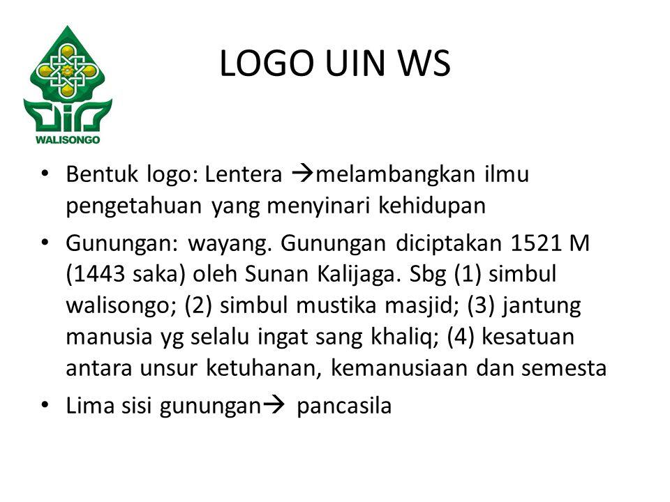 Bentuk logo: Lentera  melambangkan ilmu pengetahuan yang menyinari kehidupan Gunungan: wayang.