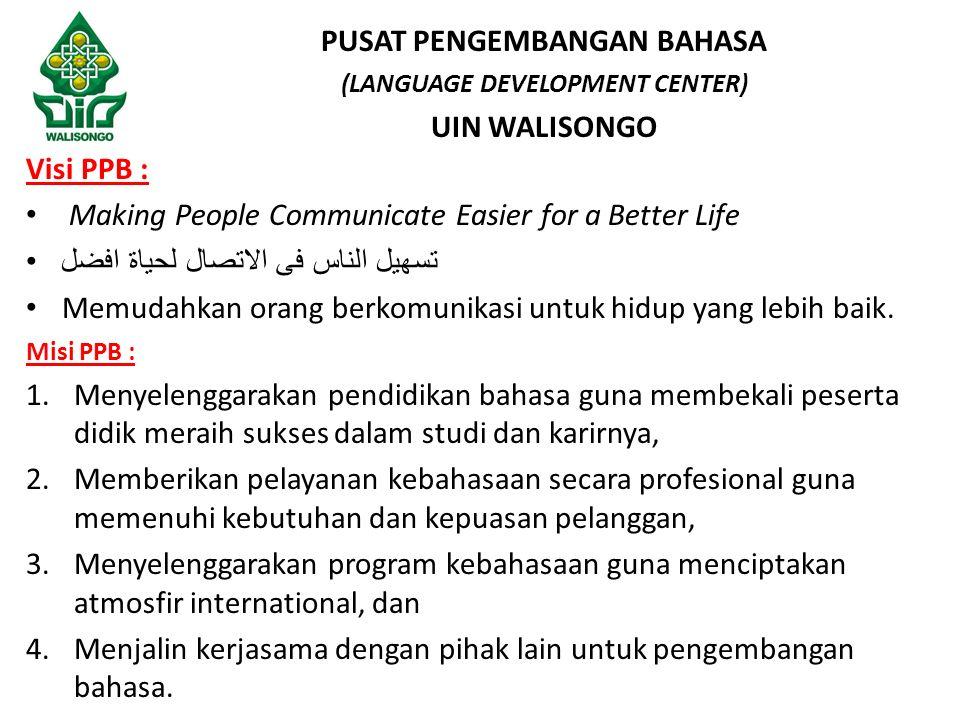 Visi PPB : Making People Communicate Easier for a Better Life تسهيل الناس فى الاتصال لحياة افضل Memudahkan orang berkomunikasi untuk hidup yang lebih baik.