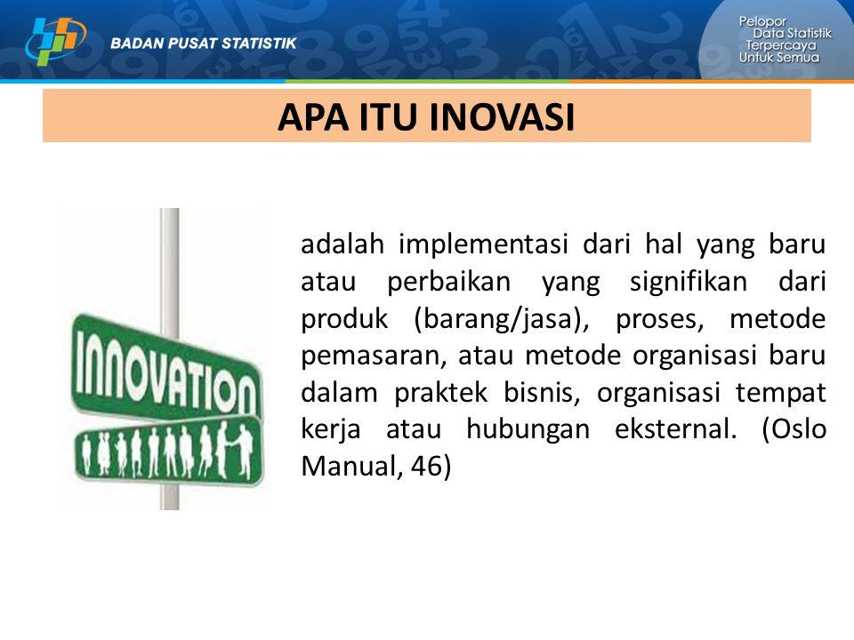 APA ITU INOVASI adalah implementasi dari hal yang baru atau perbaikan yang signifikan dari produk (barang/jasa), proses, metode pemasaran, atau metode organisasi baru dalam praktek bisnis, organisasi tempat kerja atau hubungan eksternal.