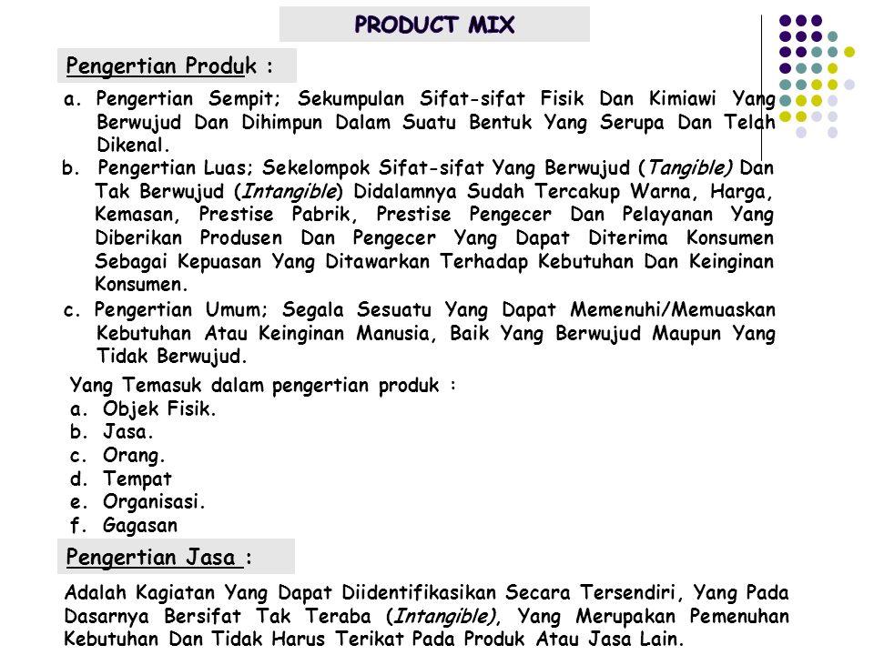 Pengertian Produk : Yang Temasuk dalam pengertian produk : a.Objek Fisik. b.Jasa. c.Orang. d.Tempat e.Organisasi. f.Gagasan Pengertian Jasa : a.Penger
