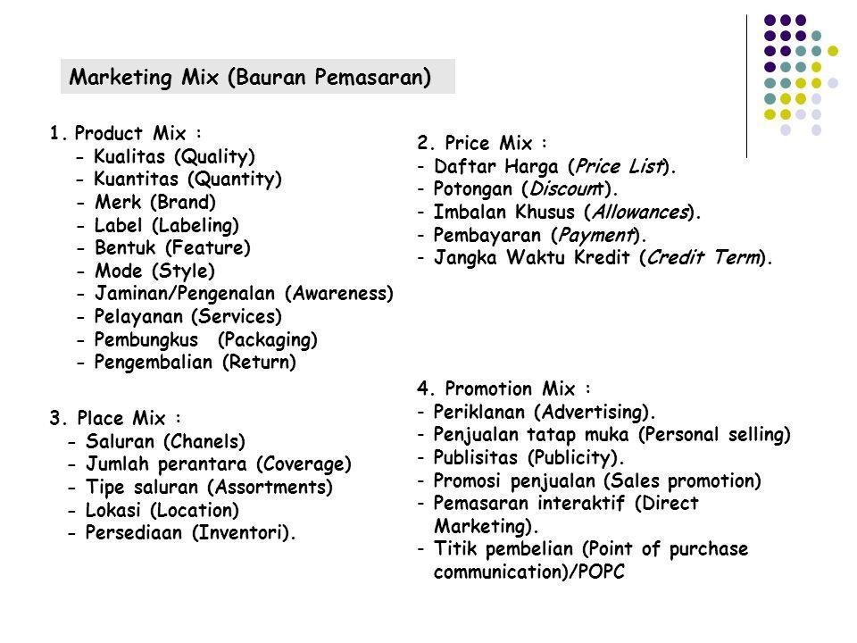 Marketing Mix (Bauran Pemasaran) 1.Product Mix : - Kualitas (Quality) - Kuantitas (Quantity) - Merk (Brand) - Label (Labeling) - Bentuk (Feature) - Mode (Style) - Jaminan/Pengenalan (Awareness) - Pelayanan (Services) - Pembungkus (Packaging) - Pengembalian (Return) 2.
