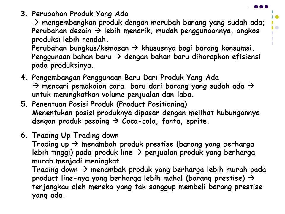 3. Perubahan Produk Yang Ada  mengembangkan produk dengan merubah barang yang sudah ada; Perubahan desain  lebih menarik, mudah penggunaannya, ongko