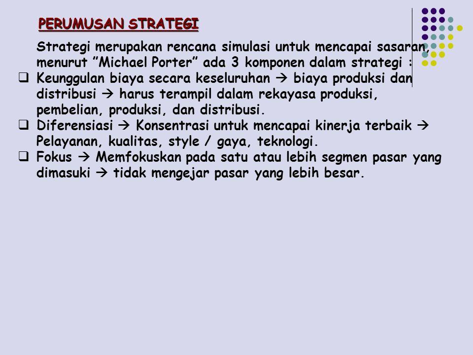 PERUMUSAN STRATEGI Strategi merupakan rencana simulasi untuk mencapai sasaran, menurut Michael Porter ada 3 komponen dalam strategi : KKeunggulan biaya secara keseluruhan  biaya produksi dan distribusi  harus terampil dalam rekayasa produksi, pembelian, produksi, dan distribusi.