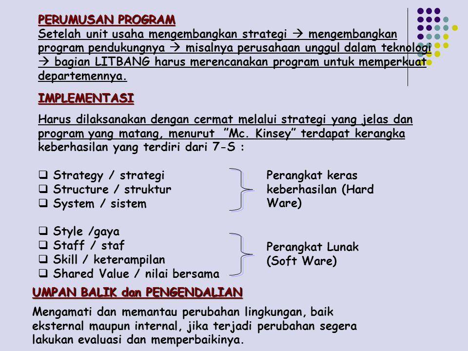 PERUMUSAN PROGRAM Setelah unit usaha mengembangkan strategi  mengembangkan program pendukungnya  misalnya perusahaan unggul dalam teknologi  bagian LITBANG harus merencanakan program untuk memperkuat departemennya.