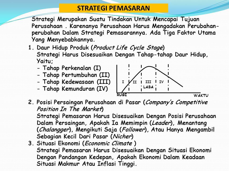 Strategi Merupakan Suatu Tindakan Untuk Mencapai Tujuan Perusahaan. Karenanya Perusahaan Harus Mengadakan Perubahan- perubahan Dalam Strategi Pemasara