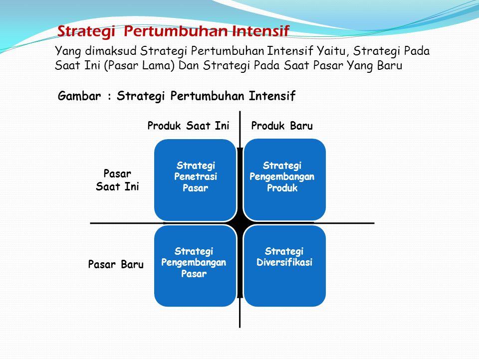 Yang dimaksud Strategi Pertumbuhan Intensif Yaitu, Strategi Pada Saat Ini (Pasar Lama) Dan Strategi Pada Saat Pasar Yang Baru Strategi Pertumbuhan Intensif Produk Saat IniProduk Baru Pasar Saat Ini Pasar Baru Gambar : Strategi Pertumbuhan Intensif Strategi Penetrasi Pasar Strategi Pengembangan Produk Strategi Pengembangan Pasar Strategi Diversifikasi