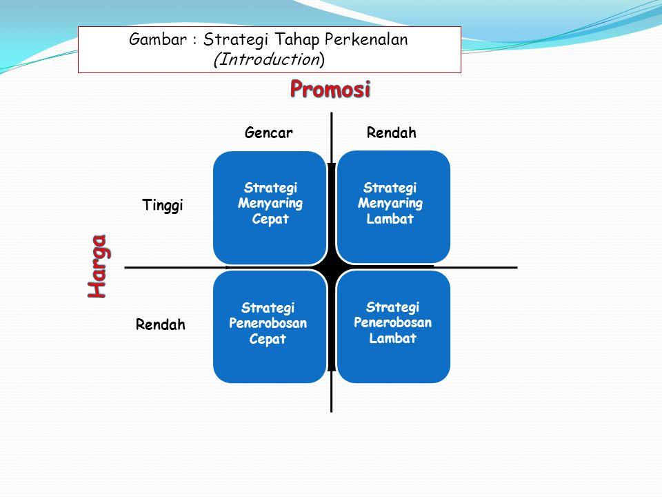 GencarRendah Tinggi Rendah Strategi Menyaring Cepat Strategi Menyaring Lambat Strategi Penerobosan Cepat Strategi Penerobosan Lambat Gambar : Strategi Tahap Perkenalan (Introduction)