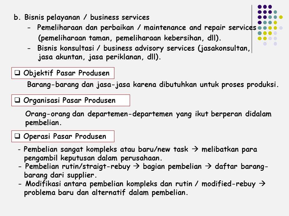  Objektif Pasar Produsen b. Bisnis pelayanan / business services - Pemeliharaan dan perbaikan / maintenance and repair services (pemeliharaan taman,