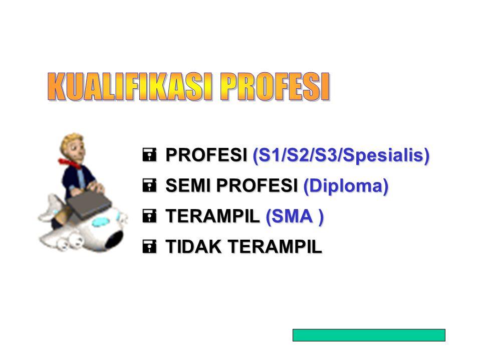 2  PROFESI (S1/S2/S3/Spesialis)  SEMI PROFESI (Diploma)  TERAMPIL (SMA )  TIDAK TERAMPIL
