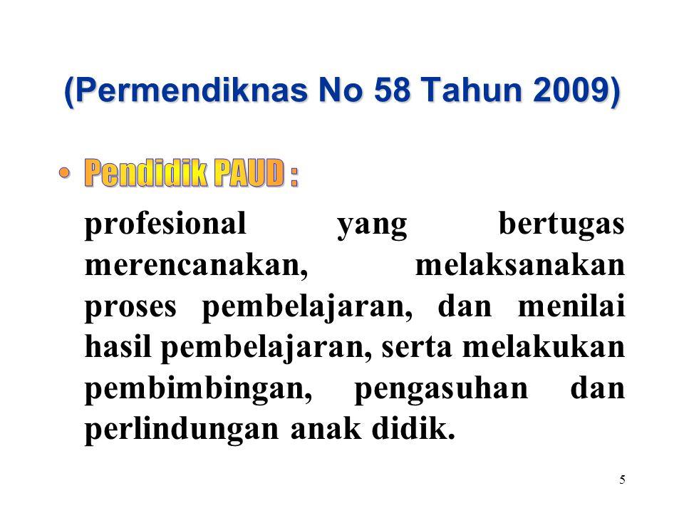 (Permendiknas No 58 Tahun 2009) 5
