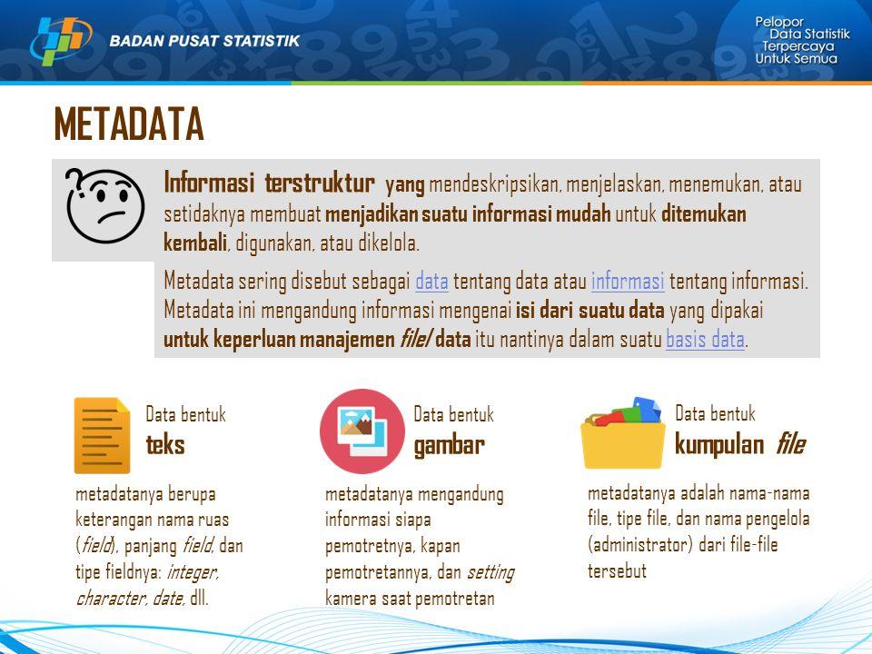METADATA Informasi terstruktur yang mendeskripsikan, menjelaskan, menemukan, atau setidaknya membuat menjadikan suatu informasi mudah untuk ditemukan kembali, digunakan, atau dikelola.