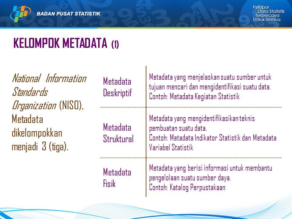 KELOMPOK METADATA (1) National Information Standards Organization (NISO), Metadata dikelompokkan menjadi 3 (tiga). Metadata Deskriptif Metadata yang m