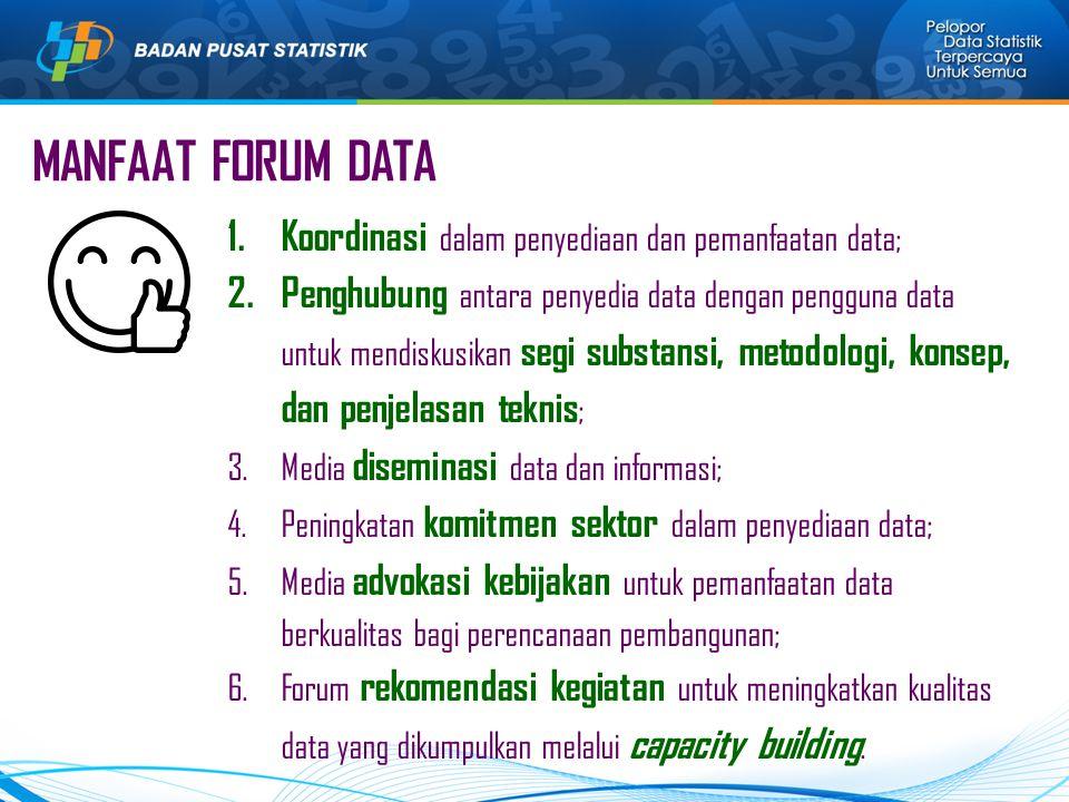 MANFAAT FORUM DATA 1.Koordinasi dalam penyediaan dan pemanfaatan data; 2.Penghubung antara penyedia data dengan pengguna data untuk mendiskusikan segi substansi, metodologi, konsep, dan penjelasan teknis ; 3.Media diseminasi data dan informasi; 4.Peningkatan komitmen sektor dalam penyediaan data; 5.Media advokasi kebijakan untuk pemanfaatan data berkualitas bagi perencanaan pembangunan; 6.Forum rekomendasi kegiatan untuk meningkatkan kualitas data yang dikumpulkan melalui capacity building.