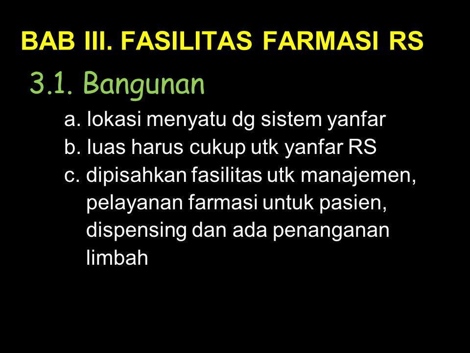BAB III. FASILITAS FARMASI RS 3.1. Bangunan a. lokasi menyatu dg sistem yanfar b.