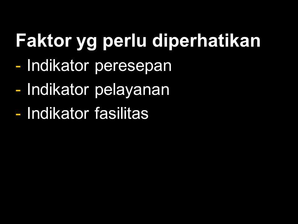 Faktor yg perlu diperhatikan -Indikator peresepan -Indikator pelayanan -Indikator fasilitas