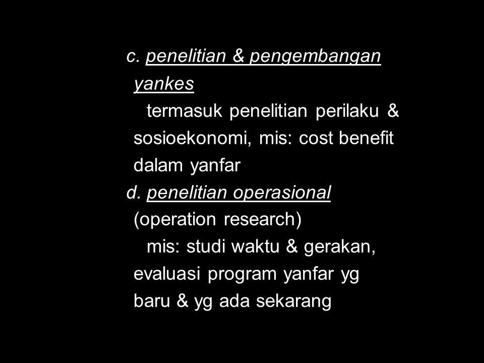 c. penelitian & pengembangan yankes yankes termasuk penelitian perilaku & termasuk penelitian perilaku & sosioekonomi, mis: cost benefit sosioekonomi,