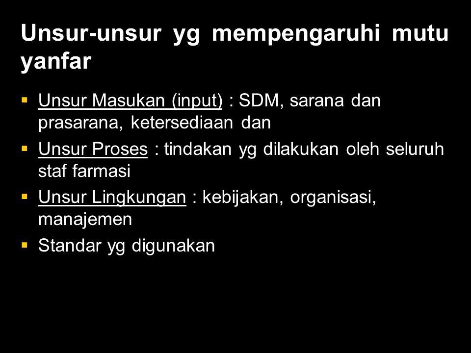 Unsur-unsur yg mempengaruhi mutu yanfar  Unsur Masukan (input) : SDM, sarana dan prasarana, ketersediaan dan  Unsur Proses : tindakan yg dilakukan oleh seluruh staf farmasi  Unsur Lingkungan : kebijakan, organisasi, manajemen  Standar yg digunakan