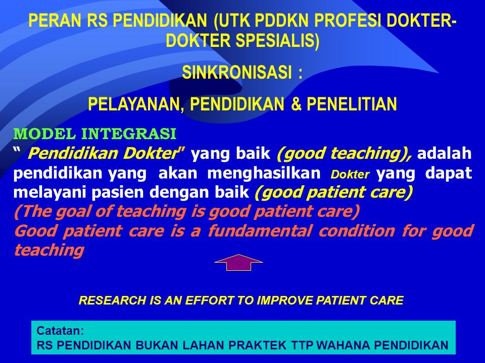 MODEL INTEGRASI Pendidikan Dokter yang baik (good teaching), adalah pendidikan yang akan menghasilkan Dokter yang dapat melayani pasien dengan baik (good patient care) (The goal of teaching is good patient care) Good patient care is a fundamental condition for good teaching PERAN RS PENDIDIKAN (UTK PDDKN PROFESI DOKTER- DOKTER SPESIALIS) SINKRONISASI : PELAYANAN, PENDIDIKAN & PENELITIAN RESEARCH IS AN EFFORT TO IMPROVE PATIENT CARE Catatan: RS PENDIDIKAN BUKAN LAHAN PRAKTEK TTP WAHANA PENDIDIKAN