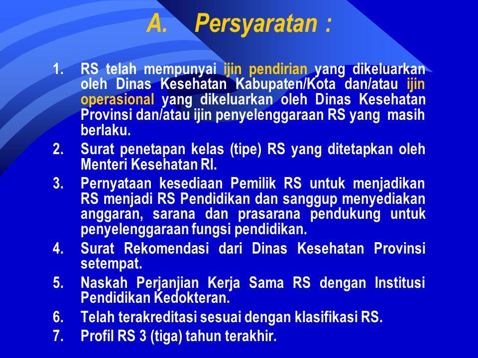 A.Persyaratan : 1.RS telah mempunyai ijin pendirian yang dikeluarkan oleh Dinas Kesehatan Kabupaten/Kota dan/atau ijin operasional yang dikeluarkan oleh Dinas Kesehatan Provinsi dan/atau ijin penyelenggaraan RS yang masih berlaku.
