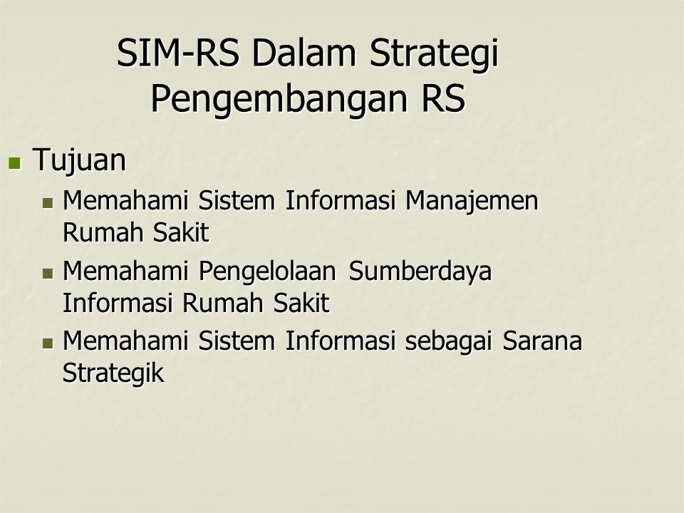 SIM-RS Dalam Strategi Pengembangan RS Tujuan Tujuan Memahami Sistem Informasi Manajemen Rumah Sakit Memahami Sistem Informasi Manajemen Rumah Sakit Me