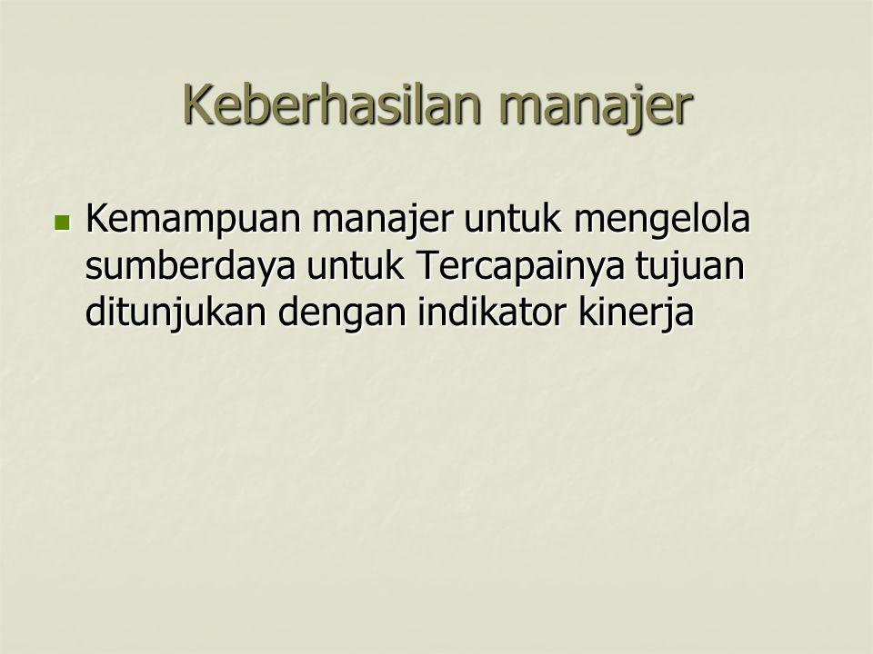 Keberhasilan manajer Kemampuan manajer untuk mengelola sumberdaya untuk Tercapainya tujuan ditunjukan dengan indikator kinerja Kemampuan manajer untuk