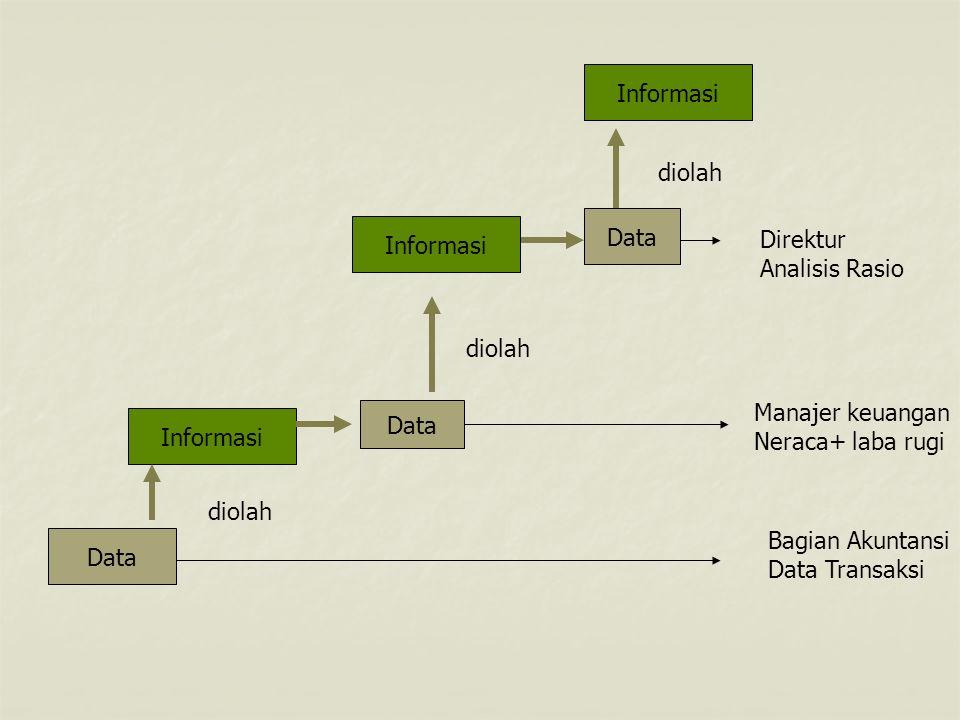 Data Informasi Data diolah Direktur Analisis Rasio Manajer keuangan Neraca+ laba rugi Bagian Akuntansi Data Transaksi