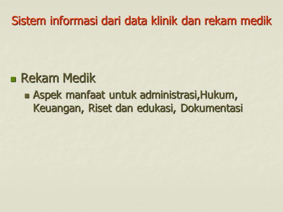 Sistem informasi dari data klinik dan rekam medik Rekam Medik Rekam Medik Aspek manfaat untuk administrasi,Hukum, Keuangan, Riset dan edukasi, Dokumen