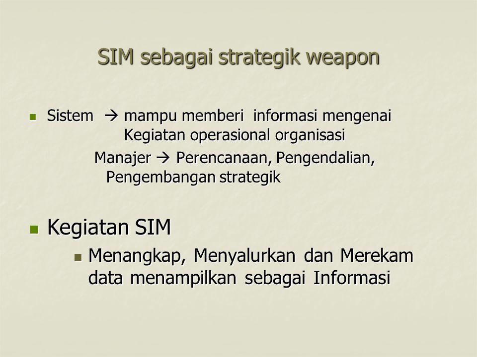SIM sebagai strategik weapon Sistem  mampu memberi informasi mengenai Kegiatan operasional organisasi Sistem  mampu memberi informasi mengenai Kegia
