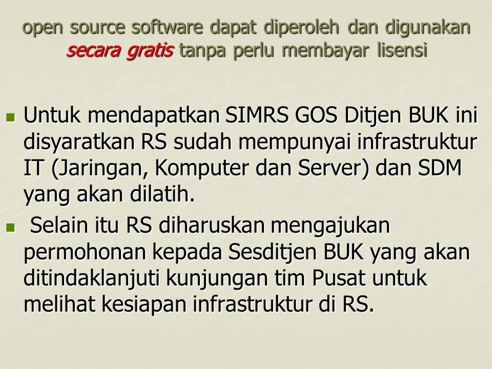 open source software dapat diperoleh dan digunakan secara gratis tanpa perlu membayar lisensi Untuk mendapatkan SIMRS GOS Ditjen BUK ini disyaratkan R
