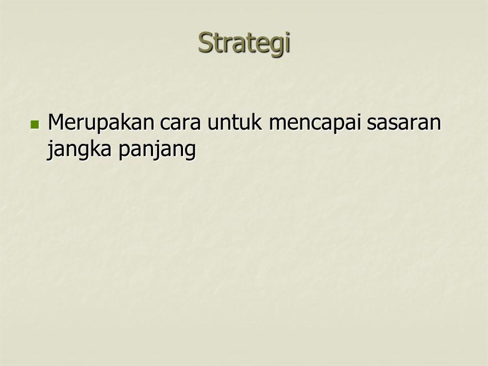 Strategi Merupakan cara untuk mencapai sasaran jangka panjang Merupakan cara untuk mencapai sasaran jangka panjang