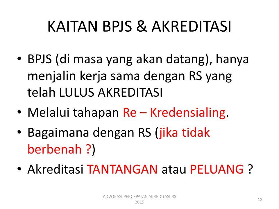 KAITAN BPJS & AKREDITASI BPJS (di masa yang akan datang), hanya menjalin kerja sama dengan RS yang telah LULUS AKREDITASI Melalui tahapan Re – Kredens